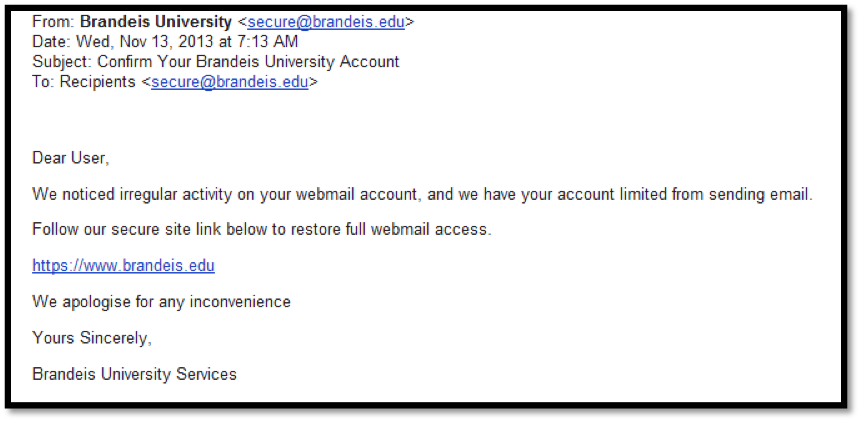 Example of a phishing email